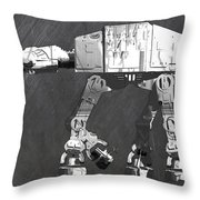 At At Walker From Star Wars Vintage Recycled License Plate Scrap Metal Art Throw Pillow