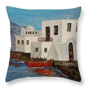 At Home In Greece Throw Pillow
