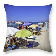 At Mondello Beach - Sicily Throw Pillow