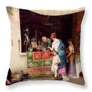 At The Antiquarian Throw Pillow
