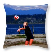 At The Beach - Fractal Throw Pillow