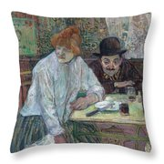 At The Cafe La Mie About 1891 Throw Pillow