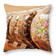 At The Candy Store Throw Pillow