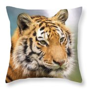 At The Center - Tiger Art Throw Pillow