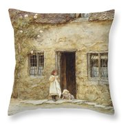 At The Cottage Door Throw Pillow