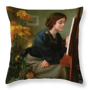 At The Easel  Throw Pillow
