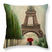 At The Eiffel Tower Throw Pillow