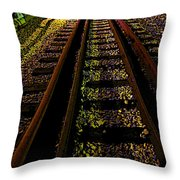 At The End Of A Railroad Track Throw Pillow