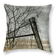 At The End...fence Post Throw Pillow