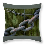 At The Fence Gate - Chain, Wire, And Post Throw Pillow