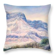 At The Foot Of Mountains Throw Pillow