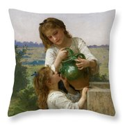 At The Fountain Throw Pillow