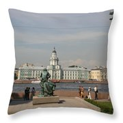 At The Newa - St. Petersburg Russia Throw Pillow