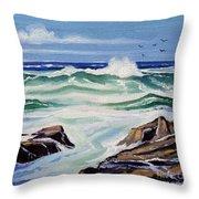 At The Ocean Throw Pillow