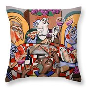 At The Pizzeria Throw Pillow by Anthony Falbo