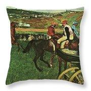 At The Races, Digitally Enhanced, Edgar Degas, Digitally Enhanced Maximum Resolution Throw Pillow