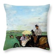 At The Races In The Countryside,  Throw Pillow