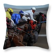 At The Racetrack 1 Throw Pillow