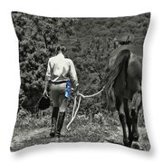 At The Show Blue Ribbon Throw Pillow