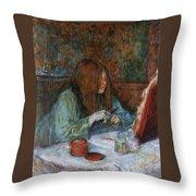 At The Toilet, Madame Poupoule Throw Pillow