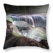 At The Top Of Lower Lewis River Falls Throw Pillow