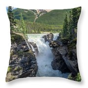 Athabaska Falls, Mt. Hardisty Throw Pillow