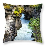 Athabaska River Slot Canyon Throw Pillow
