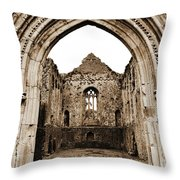 Athassel Priory Tipperary Ireland Medieval Ruins Decorative Arched Doorway Into Great Hall Sepia Throw Pillow