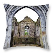 Athassel Priory Tipperary Ireland Medieval Ruins Decorative Arched Doorway Into Great Hall Throw Pillow
