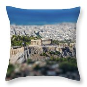 Athens, Greece. Athens Acropolis And City Aerial View From Lycavittos Hill Throw Pillow
