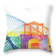 Athens Landmarks Watercolor Poster Throw Pillow
