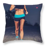 Athletic Woman Jogging Outdoors Throw Pillow