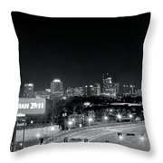 Atlanta Black And White Panorama Throw Pillow