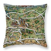 Atlanta Cartoon Map Throw Pillow