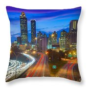 Atlanta Downtown By Night Throw Pillow