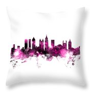 Atlanta Georgia Skyline Pink Throw Pillow
