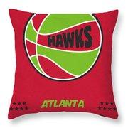 Atlanta Hawks Vintage Basketball Art Throw Pillow