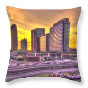 Atlanta Midtown Atlantic Station Sunset Throw Pillow