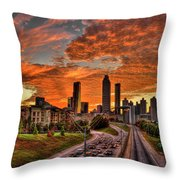 Atlanta Orange Clouds Sunset Capital Of The South Throw Pillow