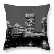 Atlanta Skyline At Night Downtown Midtown Black And White Bw Panorama Throw Pillow
