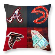 Atlanta Sports Fan Recycled Vintage Georgia License Plate Art Braves Hawks Falcons Plus State Map Throw Pillow