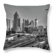 Atlanta Sunset Good Year Blimp Overhead Cityscape Art Throw Pillow