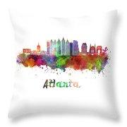 Atlanta V2 Skyline In Watercolor Throw Pillow