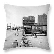 Atlantic City 1920 Boardwalk Promenade, Beach Sand, Signs Apollo Theatre, Mitzi  Throw Pillow