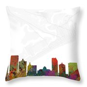 Atlantic City Cityscape And Streetmap Skyline Throw Pillow