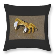 An Atlantic Ghost Crab Playing In The Tide 3 Throw Pillow
