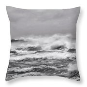 Atlantic Storm In Black And White Throw Pillow