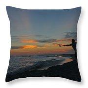 Atlantic Sunset Fishing Throw Pillow