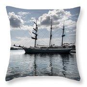 Atlantis - A Three Masts Vessel In Port Mahon Crystaline Water Throw Pillow