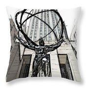 Atlas Sculpture Sketch In New York City Throw Pillow